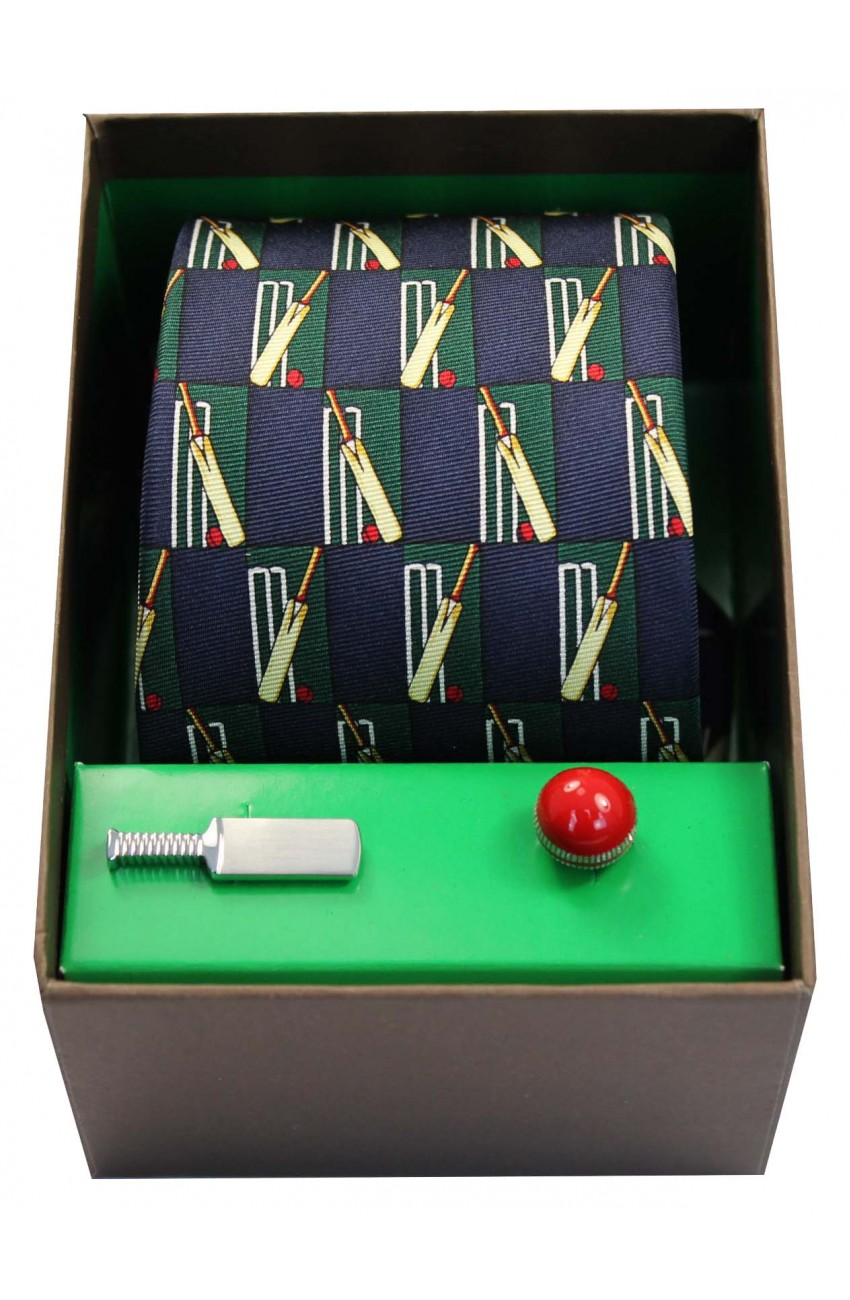Cricket Themed Tie And Cufflink Set