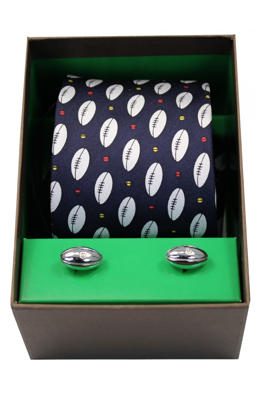Rugby Themed Tie And Cufflink Set
